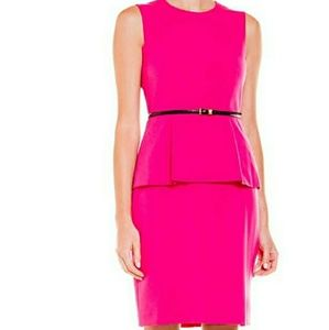 Calvin Klein Freezia Ponte Peplum Sheath Dress